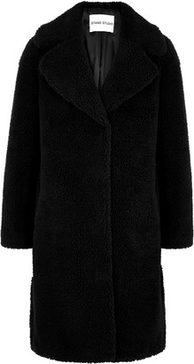 Stand Studio Camille Black Faux Shearling Coat