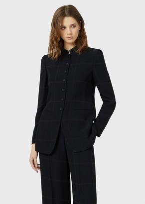 Emporio Armani Jacket With Guru Collar In Macro Check Fabric.