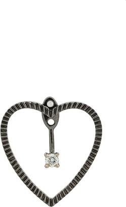Yvonne Léon 18kt black gold and diamond Heart Earring