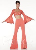 Panoply - Two-Piece Alluring Bell Sleeved Lace Pantsuit Ensemble 14845