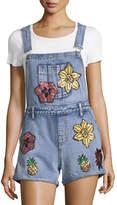 Glamorous Floral-Applique Denim Short Overalls