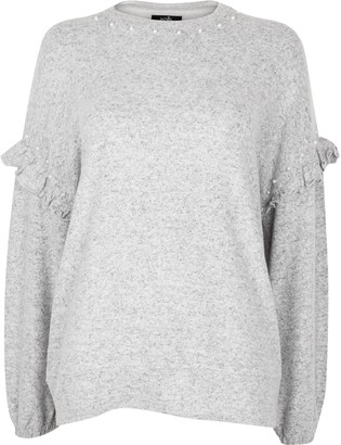 Wallis Grey Embellished Frill Sleeve Jumper