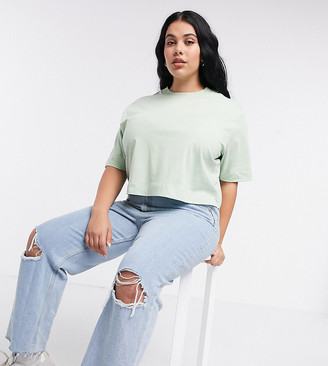 Collusion Plus exclusive colour boxy short sleeve t-shirt in mint