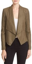 Alice + Olivia Women's 'Warren' Short Drape Front Leather Jacket