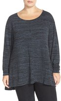 Sejour Plus Size Women's Print Long Sleeve High/low Tee