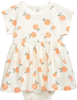 Petit Lem Firsts Peach Print Skirted Bodysuit