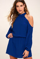 Lucy-Love Lucy Love Genna Royal Blue Long Sleeve Dress