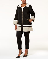 Jones New York Plus Size Colorblocked A-Line Coat