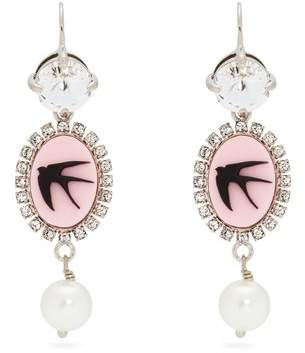 Miu Miu Crystal And Faux Pearl Cameo Drop Earrings - Womens - Pink