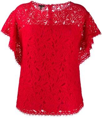 Escada lace ruffle-sleeve blouse