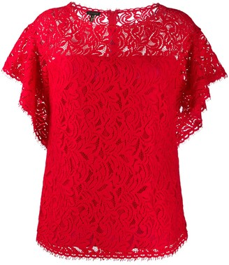 Escada Lace Ruffle-Sleeve Blouse
