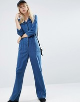 Asos Denim Wide Leg Pajama Jumpsuit