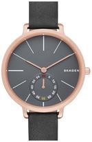 Skagen &Hagen& Leather Strap Watch, 34mm
