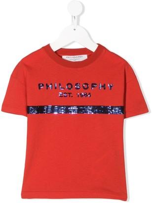 Philosophy Di Lorenzo Serafini Kids sequin logo T-shirt