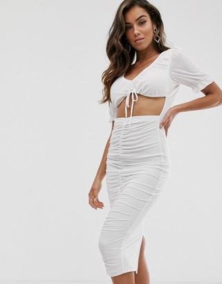 Asos DESIGN ruched cut out milkmaid midi dress