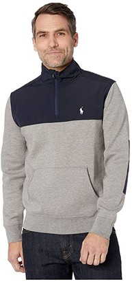Polo Ralph Lauren Double Knit 1/4 Zip Pullover (Aviator Navy) Men's Clothing