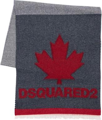 DSQUARED2 Leaf Wool Blend Knit Scarf