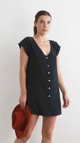 Merritt Charles Manuel Dress Black Slip Dress With Silver Buttons