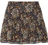 Figue Lucette Ruffled Printed Silk-Georgette Mini Skirt