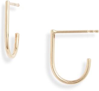 Poppy Finch Huggie J-Hoop Earrings