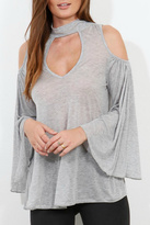 Three Dots Grey Cut Out Top