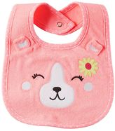 Carter's Baby Girl Embroidered Bear Terry Bib