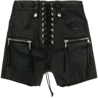 Unravel Project Leather Lace-Up Shorts