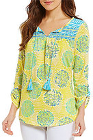 Westbound Roll-Tab Sleeve Tie Front Printed Top