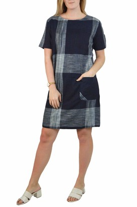White Label Seasalt Cotton Yarn Check Tunic Dress Fully Lined Scoop Neck Short Sleeve Navy/Grey Size 16