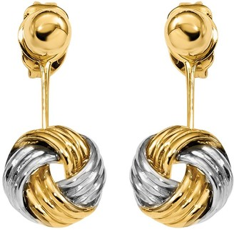 Italian Gold 14K Gold Two-Tone Front & Back Love Knot Polished Earrings