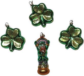 One Kings Lane Vintage Glass St Patrick Ornaments - Set of 4