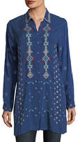 Johnny Was Nova Button-Front Long Embroidered Tunic, Plus Size
