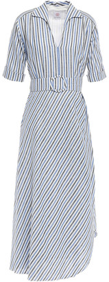 Gül Hürgel Petunia Belted Striped Linen And Cotton-blend Midi Dress