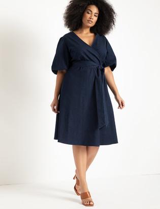 ELOQUII Puff Sleeve Chambray Dress
