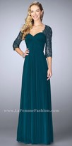 La Femme Sweetheart Ruched Embellished Three-quarter Sleeve Evening Dress