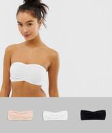 Asos Design DESIGN 3 pack basic microfibre bandeau bras