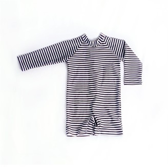 Current Tyed Monochrome Black Striped Upf 50 Swimsuit 2t