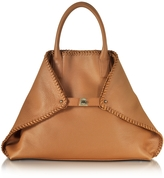 Akris Ai Medium Cuoio Leather Tote w/Woven Edge