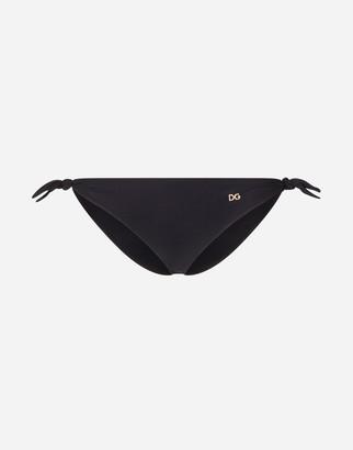 Dolce & Gabbana Solid-Color Tie Bikini Bottoms