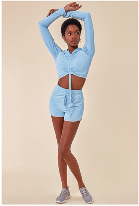 Cosmochic Jersey Short Set With Drawstring Top - Blue