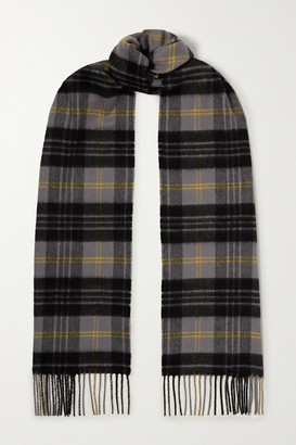 Johnstons of Elgin Fringed Checked Cashmere Scarf - Gray