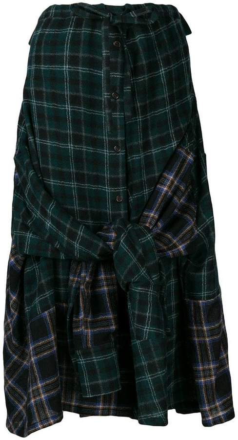 contrast tartan print skirt