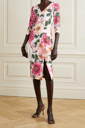 Dolce & Gabbana - Floral-print Stretch-crepe Midi Dress - Pink