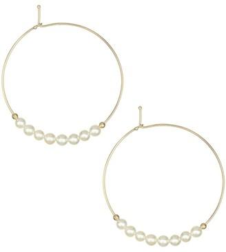 Mizuki Small 3MM White Pearl & 14K Gold Hoops