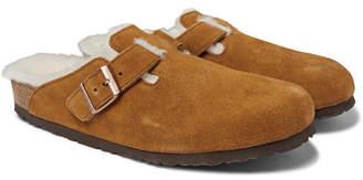 Birkenstock Boston Shearling-Lined Suede Sandals