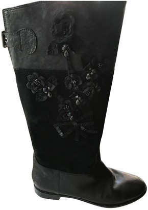 Moschino Black Leather Boots