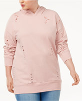 Planet Gold Trendy Plus Size Ripped Hoodie