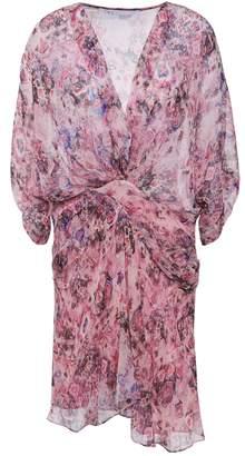 IRO Gazania Gathered Printed Silk Chiffon Mini Dress