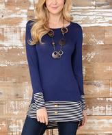 Celeste Navy & Gray Stripe Tunic
