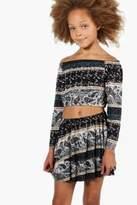 boohoo Girls Tiered Folk Skirt
